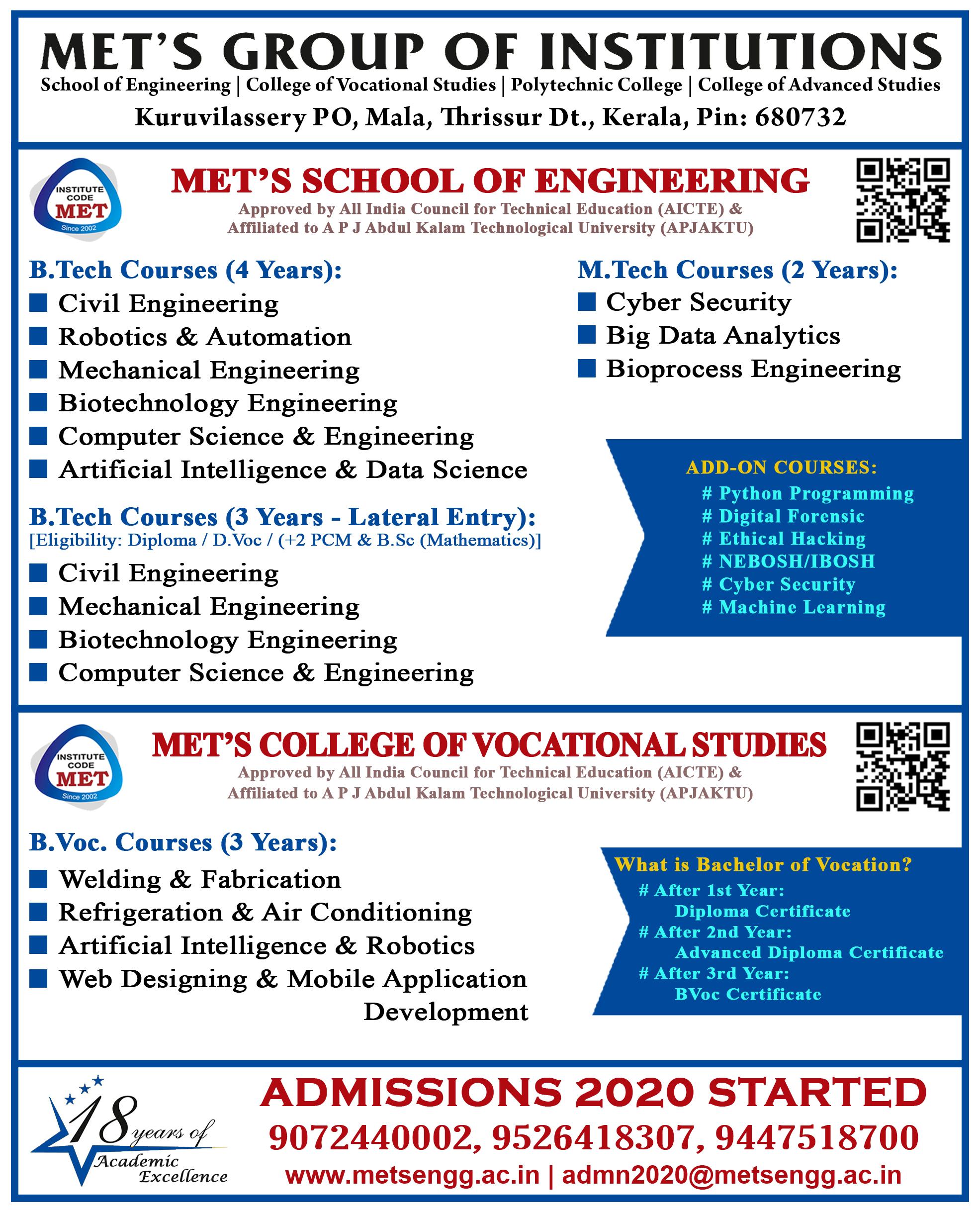 Mets School Of Engineering Best Engineering Colleges Thrissur